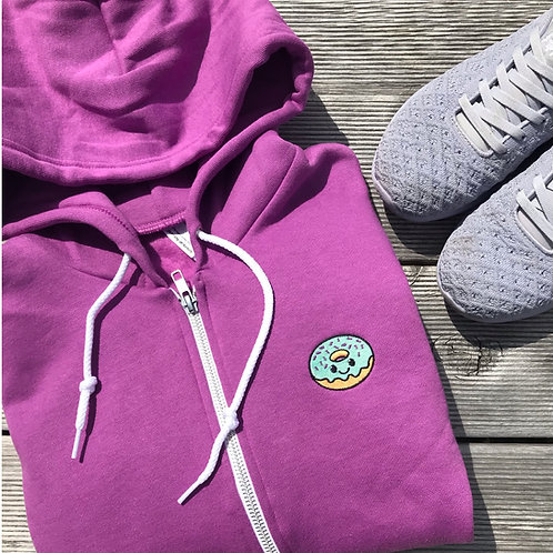 Embroidered Donut Zip Hoodie