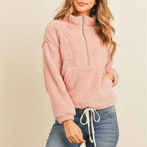 Dusty Pink Half Zip Sherpa Pullover