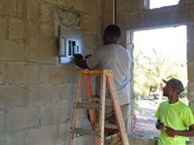 Electrical box installation at Malacate Beach