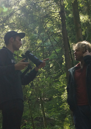 Filming in the woods