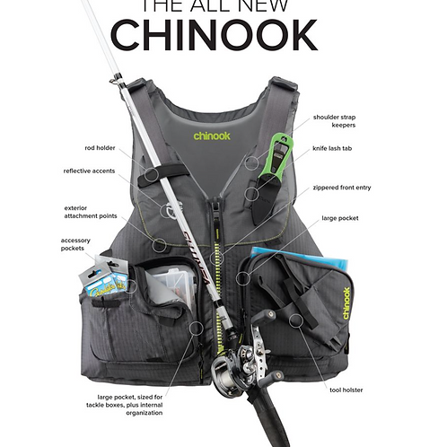 NRS Chinook Fishing PFD- Charcoal