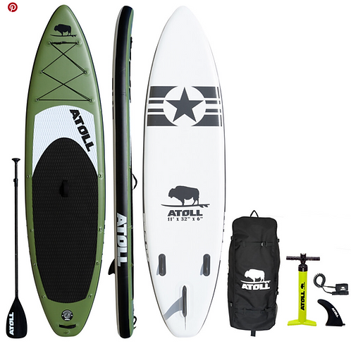 2021  ATOLL 11 ft Inflatable Stand Up Paddle Board, Army Green