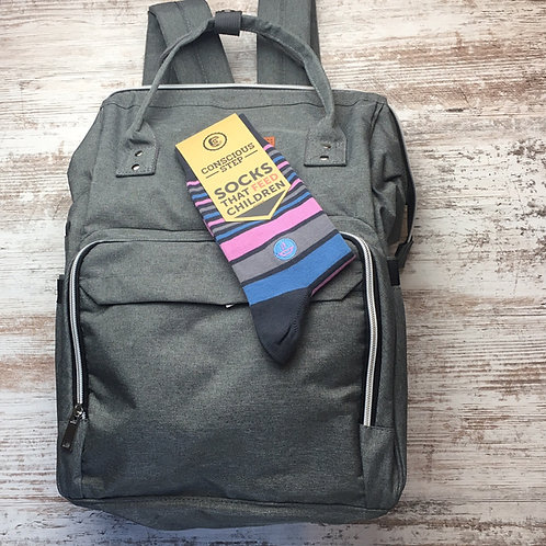 Classic Gray Diaper Backpack - New Dad