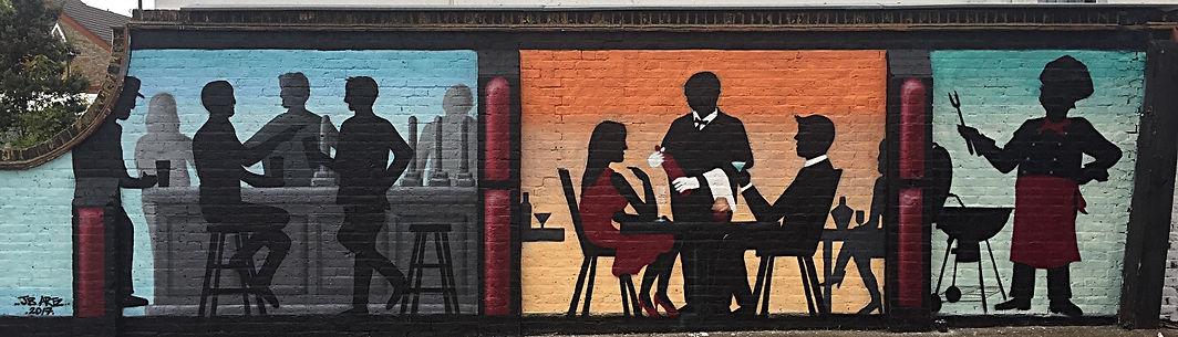 Spray painted mural in NW London