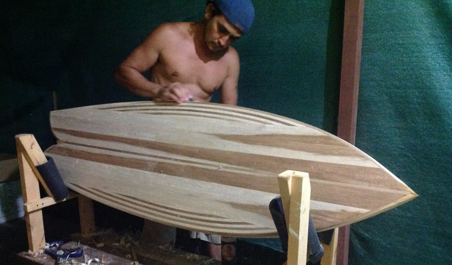 Balsa hollow wood surfboard