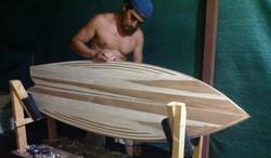 Balsa hollow wood surfboard