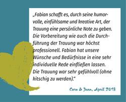 Referenz Caro und Jean | Trauredner Fabi