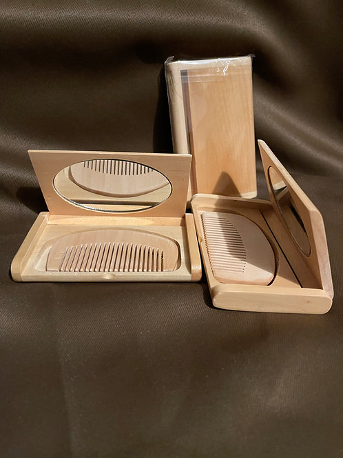 Wooden Beard Comb and Mirror set