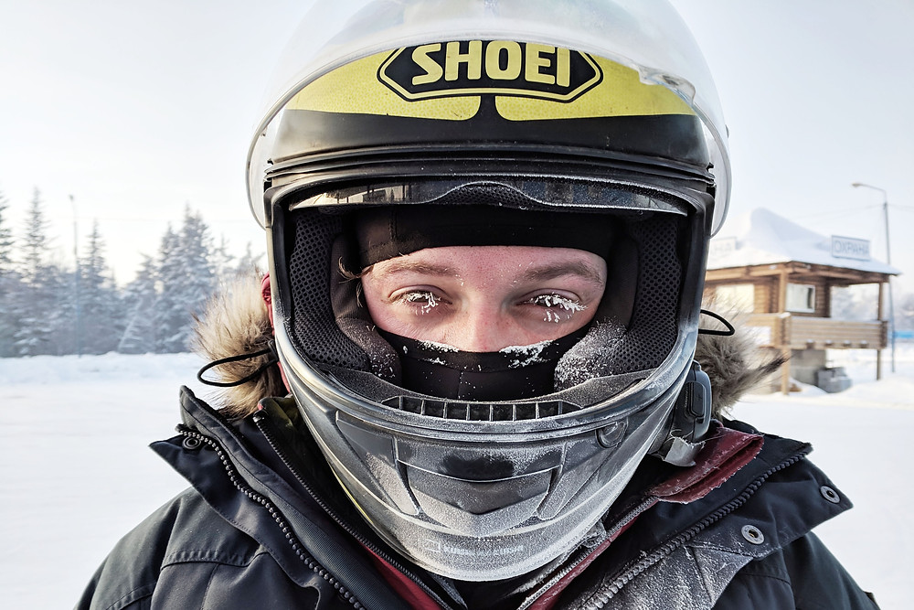Frozen motorcyclists face