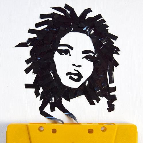 5 x 7 inch cassette tape portrait of Lauryn Hill w/ US shipping