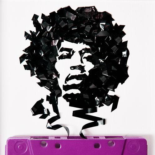 5 x 7 inch cassette tape portrait of Jimi Hendrix w/ worldwide Fedexshipping