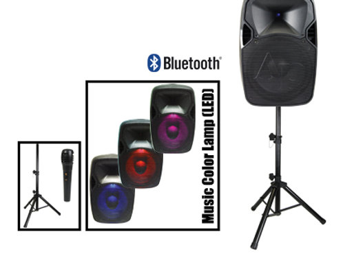 DJAP-1254a-CMB Professional Active Loudspeaker,  microphone and stand combo