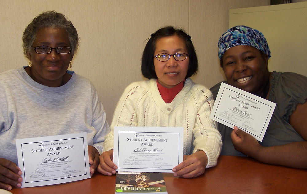 three pre-GED students at the Durham Literacy Center