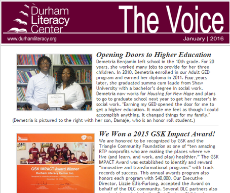 DLC Newsletter: The Voice (January 2016)