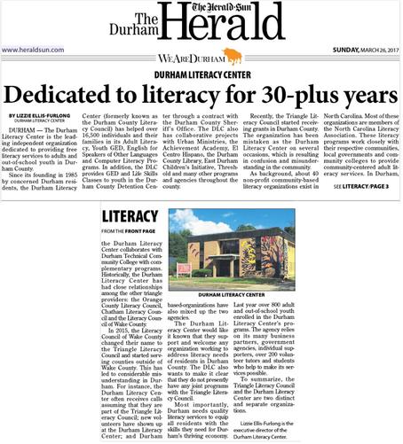 Dedicated to literacy for 30-plus years (Herald-Sun)