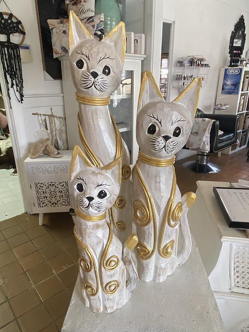 Set 3 Wooden Cats
