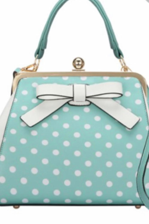 Baby blue bag/polka dots