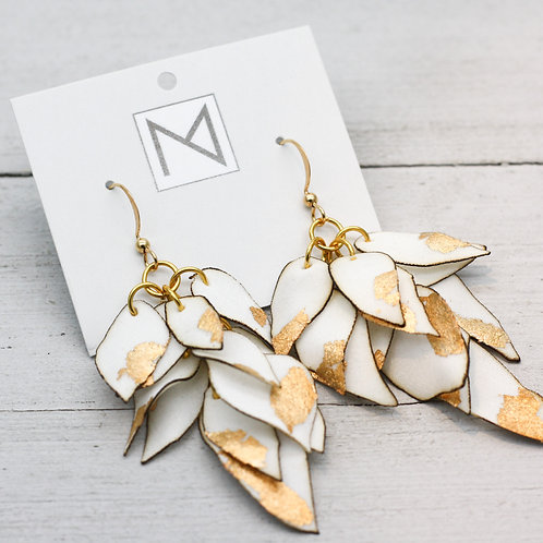 Earrings (Cascading Floral Petals Ivory/Gold)