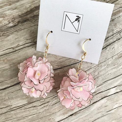 Earrings (Pink Silk Flower Cluster)