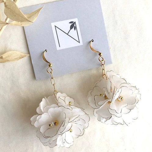 Earrings (White Silk Flower Cluster)