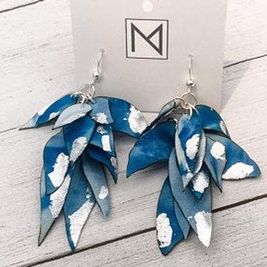 Earrings (Cascading Floral Petals Indigo/Silver)