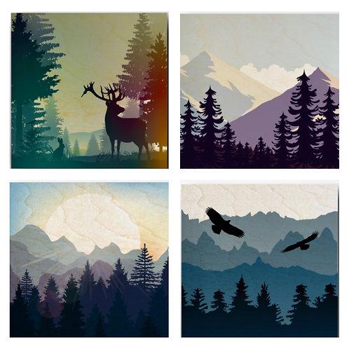 """""""Mountains & Wildlife"""" Coaster Set"""