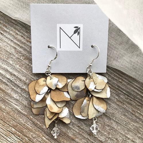 Earrings (Eucalyptus Petals Khaki/Silver)