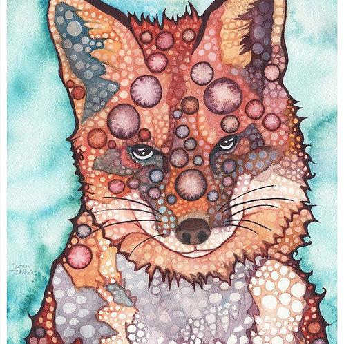 Watercolour Print - Thoughtful Fox