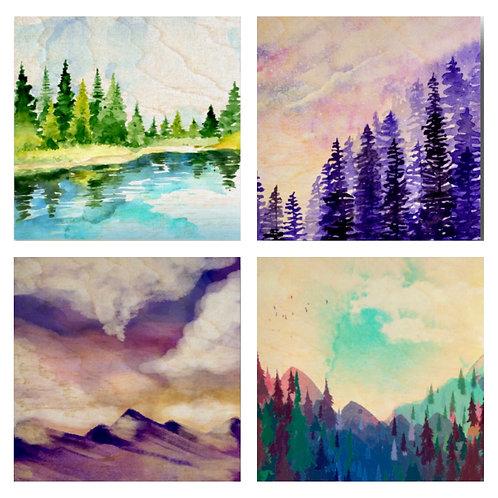 """Watercolour"" Coaster Set"