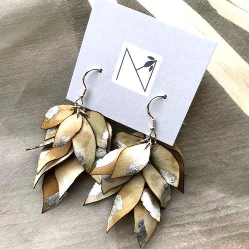 Earrings (Cascading Floral Petals Khaki/Silver)
