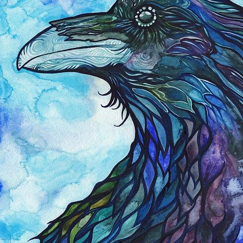 Watercolour Print - Raven