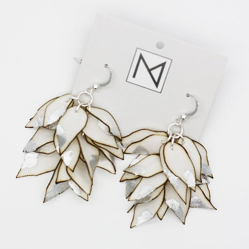 Earrings (Cascading Floral Petals Ivory/Silver)