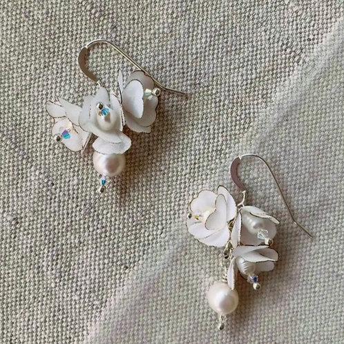 Earrings (White Silk Flower Drop)