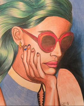 Girl with Shades and Green Hair