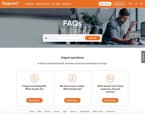 Tangerine FAQ section