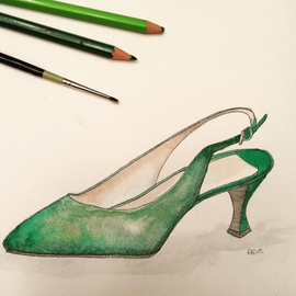 Green Kitten Heel Shoe