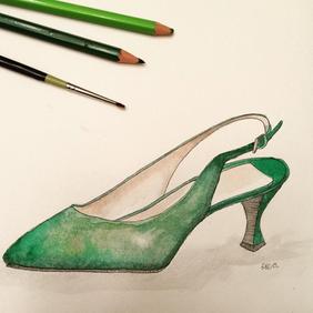 Green Kitten Heel Shoe