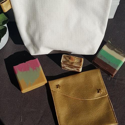 Trousse de toilette et sa mini pochette assortie Gold - cousues mai