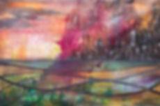 EKG,MysticCity,Acrylic and Ink on canvas