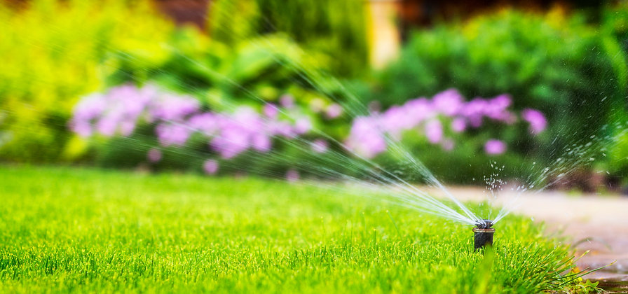 automatic sprinkler system watering the