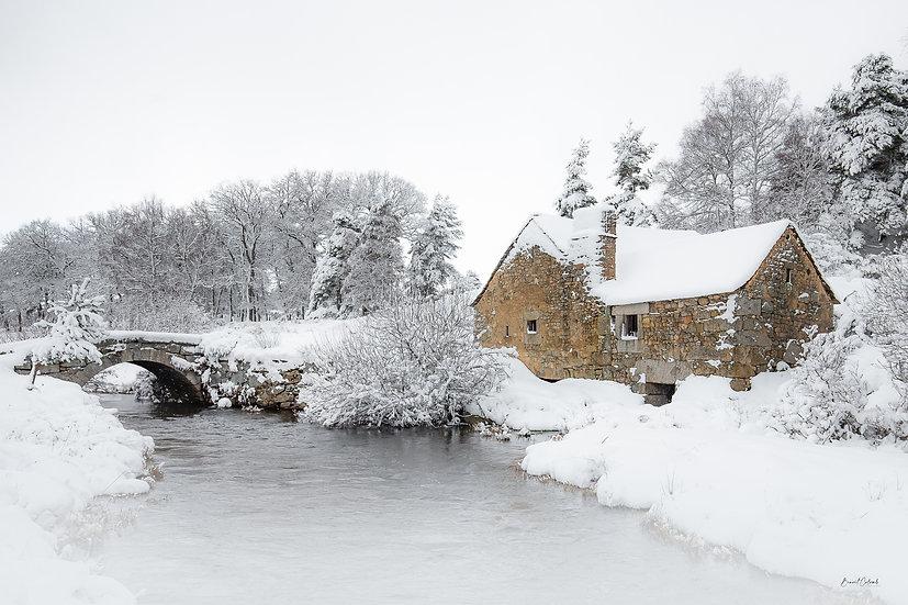 Moulin de Javols enneigé