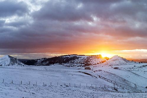 Sunset d'hiver aux Bondons