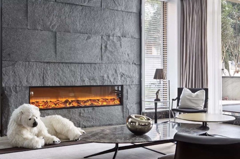 Living Room with Fireplace and white dog