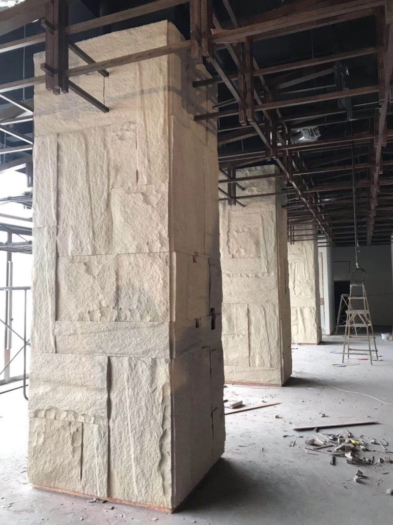 Yellow Granite Column in Construction