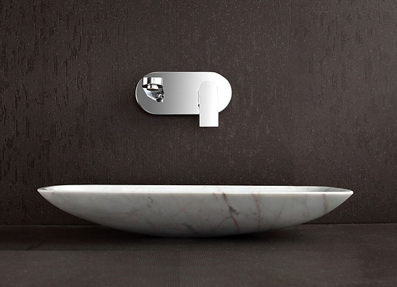 Curved Rectangle Vessel White Marble Sink