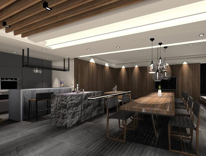 Morden Kitchen with stone skin counter and warm light