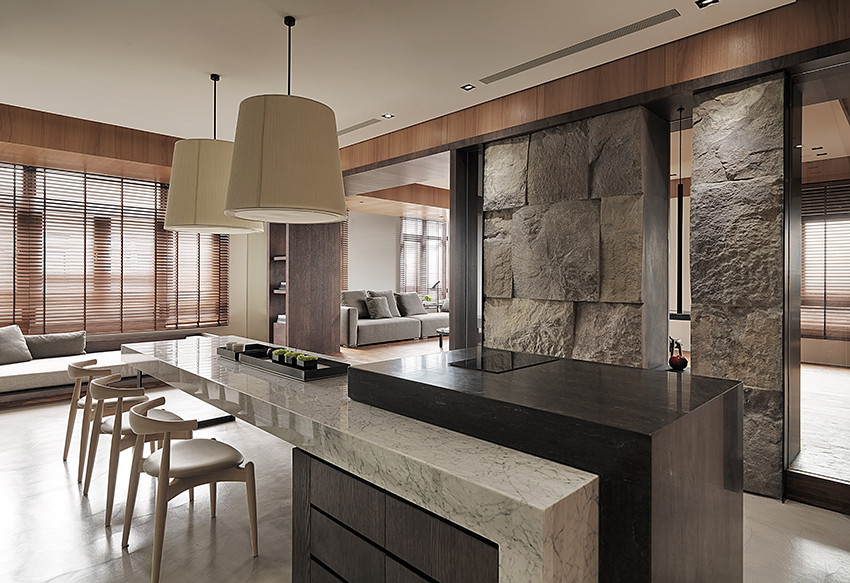 Luxury Living Room with Stone Skin