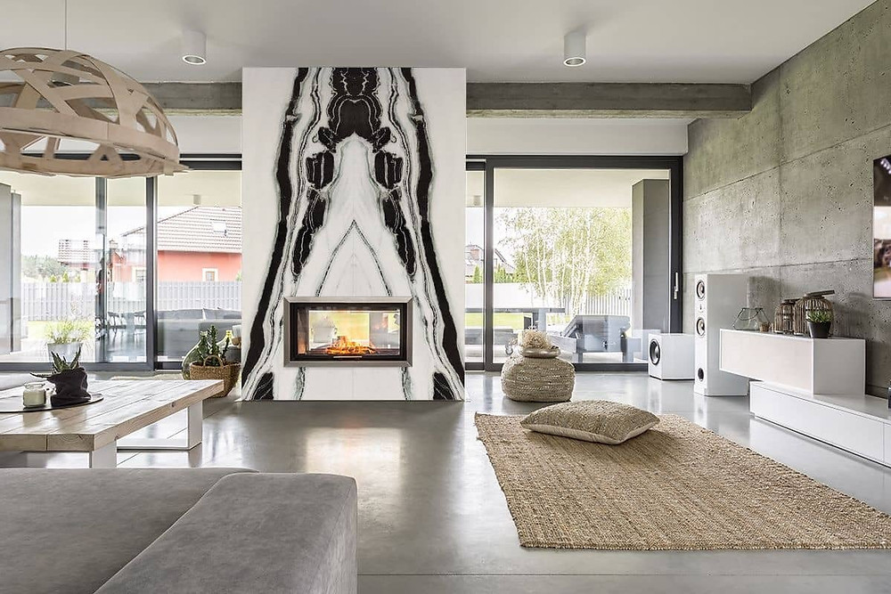 Panda White Marble for Living Room  Fireplace Wall