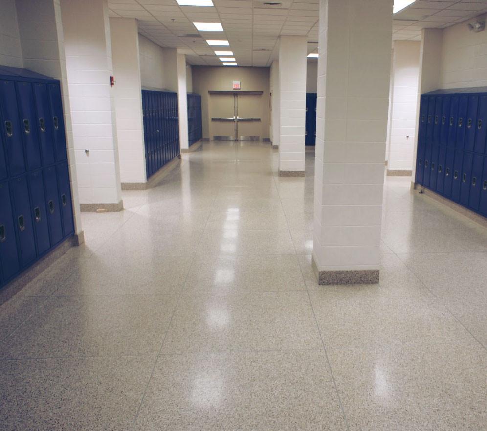 terrazzo flooring tile in school