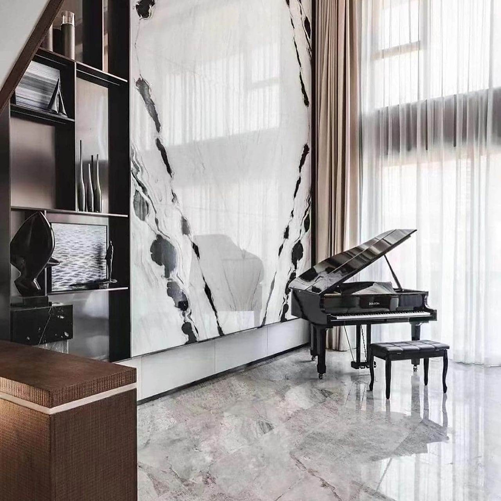 Panda White Marble for Dining Room  Feature Wall